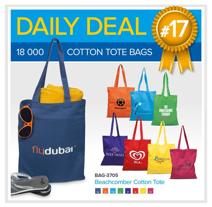 Whether you're spending the day at the beach or taking a trip to the grocery store, the Beachcomber Cotton Tote is incredibly versatile. Order 200 or more and receive a FREE one-colour, one-position screen print (setup charge excluded). Should you wish to print more than one-colour, the free branding offer falls away and normal branding prices will apply. This special applies to the 8 vibrant colours featured above (excludes black and blue).  Contact linda@lindajacobspromotions.co.za