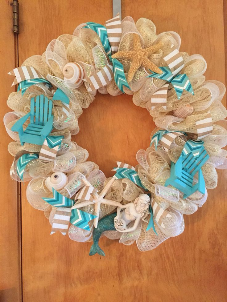 Beach mermaid theme deco mesh wreath