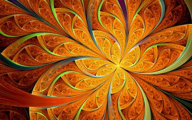 Abstract fractal, orange ornamental pattern with curved stripes and yellow…
