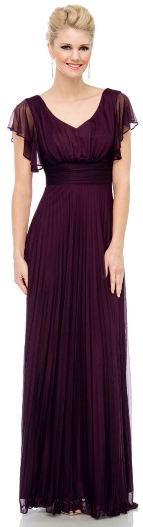 Dark purple with sleeves. Long bridesmaid dress.