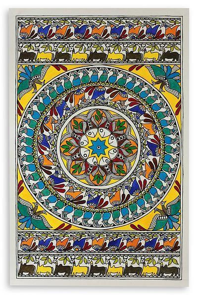 Traditional Madhubani Folk Art Painting - Nature's Feast | NOVICA