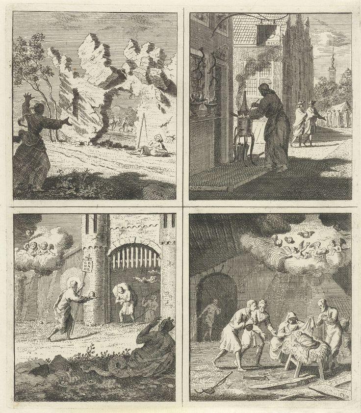 Cornelis van Noorde   Voorzichtigheid is de moeder van de wijsheid / Apotheek / Christus biedt genade en vrijheid aan / Geboorte van Christus, Cornelis van Noorde, in or before 1767   Vier voorstellingen. Linksboven: een vrouw heft haar handen ten hemel, als zij ziet dat er rotsblokken losraken en neervallen op een rustende man. Afbeelding bij een oproep tot voorzichtigheid. Rechtsboven: een apotheker bij een komfoor voor de Wereldse apotheek. In de apotheek van de Wereld is echter geen…