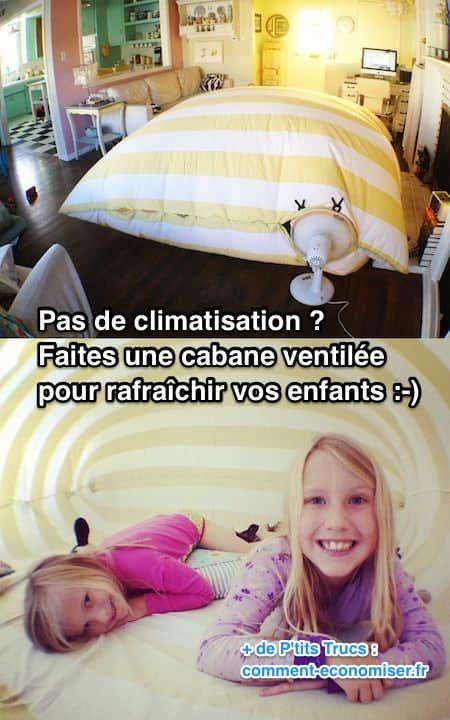 Pas de climatisation à la maison ? Et vos enfants ont trop chaud ? Alors comment faire pour les rafraîchir pendant les canicules ? Et bien, voici un truc que vos enfants vont adorer !  Découvrez l'astuce ici : http://www.comment-economiser.fr/astuce-quand-on-a-pas-de-climatisation-maison.html