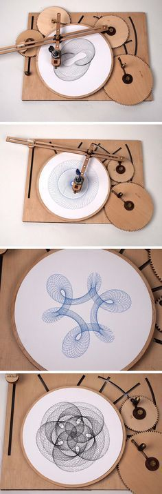 Crank Out Infinite Geometric Designs With The Wooden Cycloid Drawing Machine