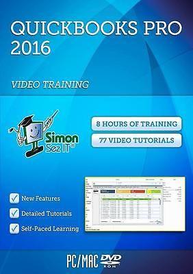 QuickBooks Pro 2016 Training Video Tutorials by Simon Sez IT PC/MAC DVD ROM VG#