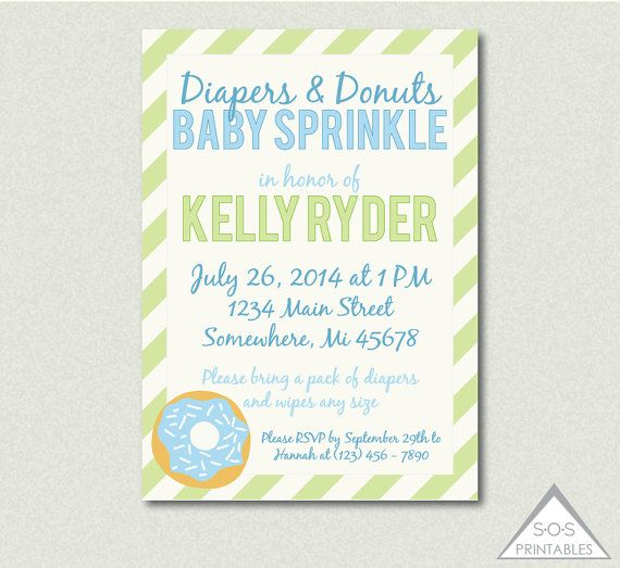 Boy Baby Sprinkle Invitation, Diaper And Donuts Invitation, Diaper Shower,  Donut Baby Shower, Sprinkle Shower, Sprinkle Invitation