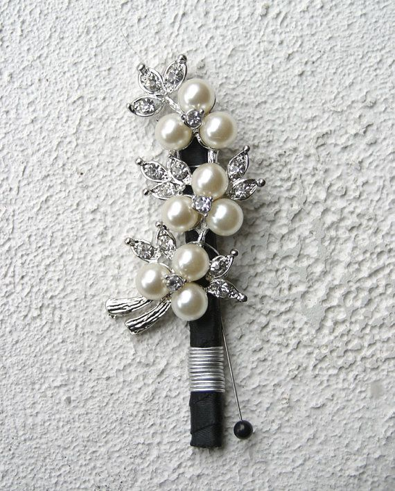 Brooch Boutonniere. Silver Pearl brooch boutonniere made to order. Buttonhole on Etsy, $30.00