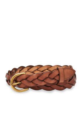 Fossil Tan Skinny Braid Belt