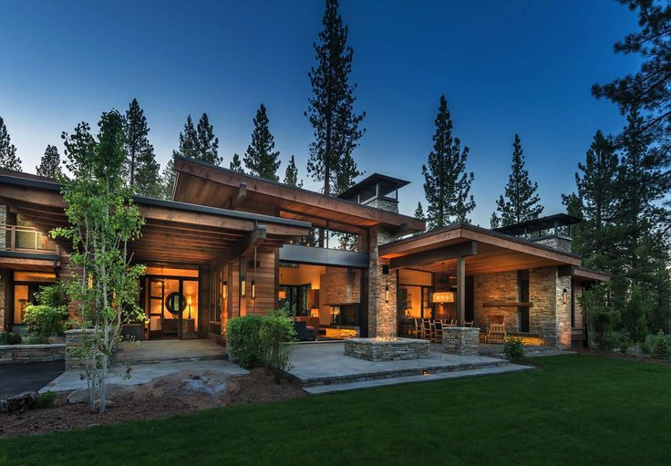 Mountain modern home in martis camp with indoor outdoor for Modern house 48