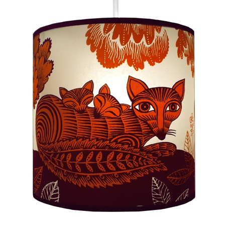 Fox and cubs lampshade by Lush Designs in the UK.