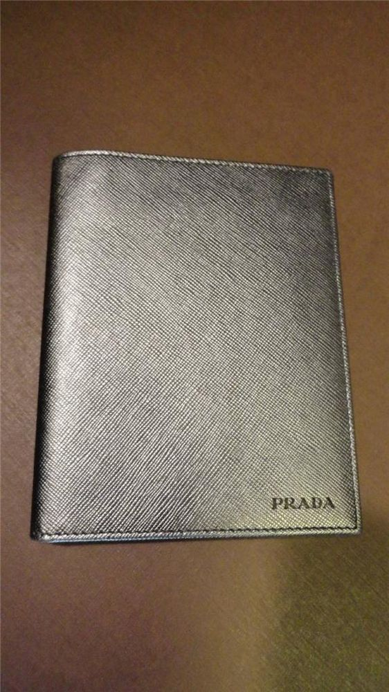 prada handbag on sale - PRADA Gray Leather Bifold Wallet Passport Credit Card Holder ...