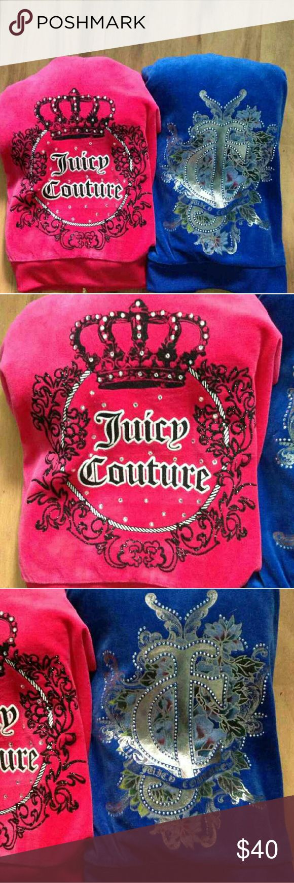 Nwot Juicy Couture Velour Track Jackets *SOLD* I actually bought these from someone else on here and they ended up being too big for me cuz I'm a size small and there both a size medium,they are both nwot , that's how I purchased them,I didn't wear them I only tried them on,so I won't wash them when I send them , I'll send them as they came too me , there both beautiful colors and there authentic,both size medium,juicy couture pink hoodie,sweater,track jacket, and juicy couture blue…