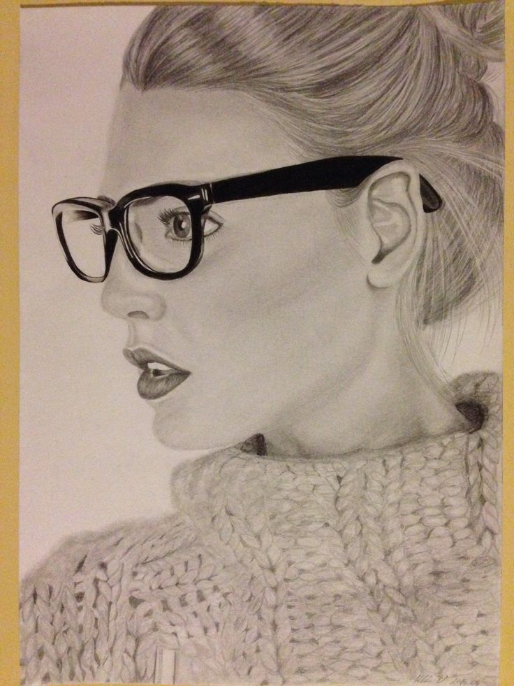 Behind glasses - portrait drawing, dorottyaart.com