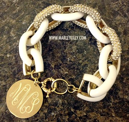 Monogrammed Glitter Chain Length Enamel Bracelet | Marley Lilly/ I have seen this style before and I love it because you can wear it casual or dressy and it matches with everything!!!!!!!!!!!!