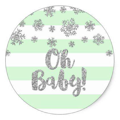 Mint Stripe Silver Snowflake Winter Baby Shower Classic Round Sticker - bridal gifts bride wedding marriage
