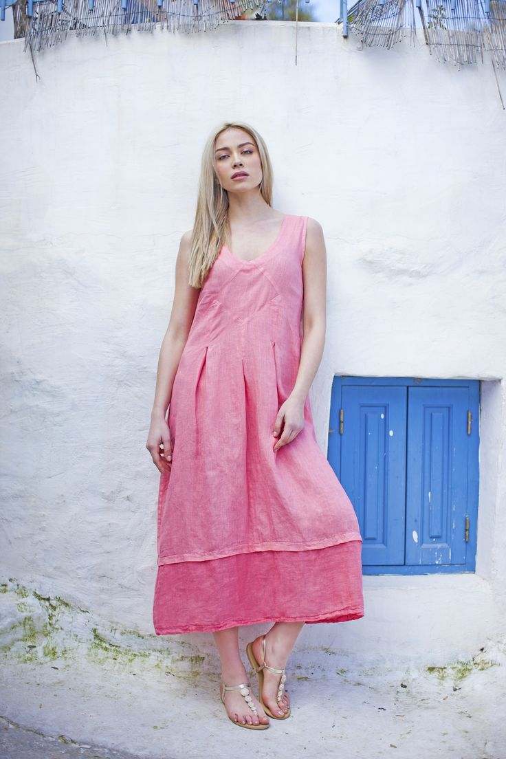 Haris Cotton,Linen Dress with Linen Gauze 1377 Frozen strawberry