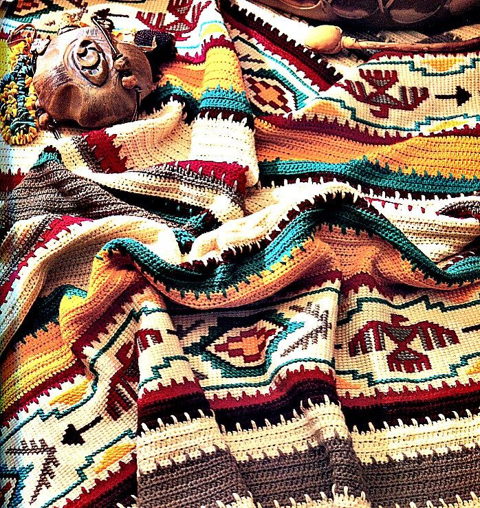 Crochet Blanket Pattern - Indian Summer Afghan by PearlShoreCat on Etsy https://www.etsy.com/listing/207733075/crochet-blanket-pattern-indian-summer