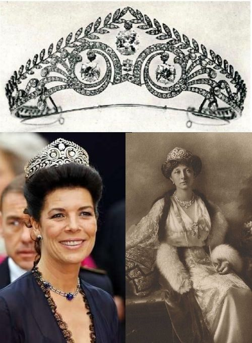 The Brunswick Tiara: Diamonds set in scrolls & laurel-wreath motif, belonged to Joséphine de Beauharnais, consort of Napoleon I. Made its way to Germany. In 1913, refurbished, it was given to Pss Victoria Louise of Prussia from the people of Brunswick for her wedding to Ps Ernst August of Hanvor, Duke of Brunswick. She died in 1980, passing it to her grandson Ernst August. The tiara seemed to be missing for years, but in 2004 it reappeared on Ernst August's second wife, Pss Caroline of…