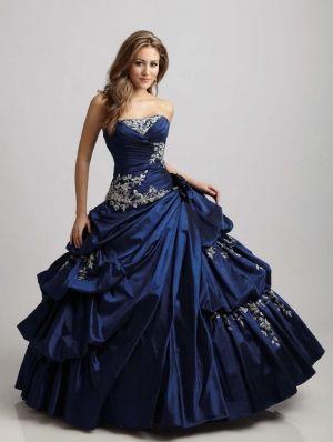 Blue Taffeta Strapless Applique Ball Gown Gothic Wedding Dress