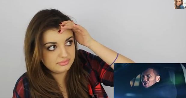 Click here for an amazing video of Rebecca Black forcing herself to watch her video for 'Friday'.