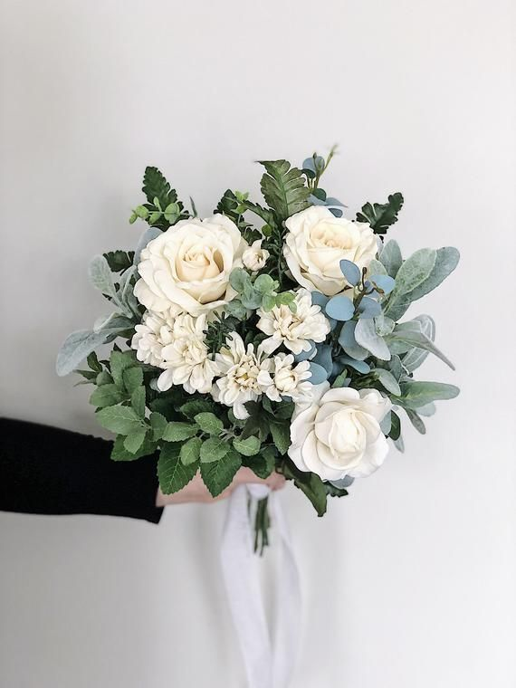 Bridal Garden Style Eucalyptus Flower Wedding Bouquet White