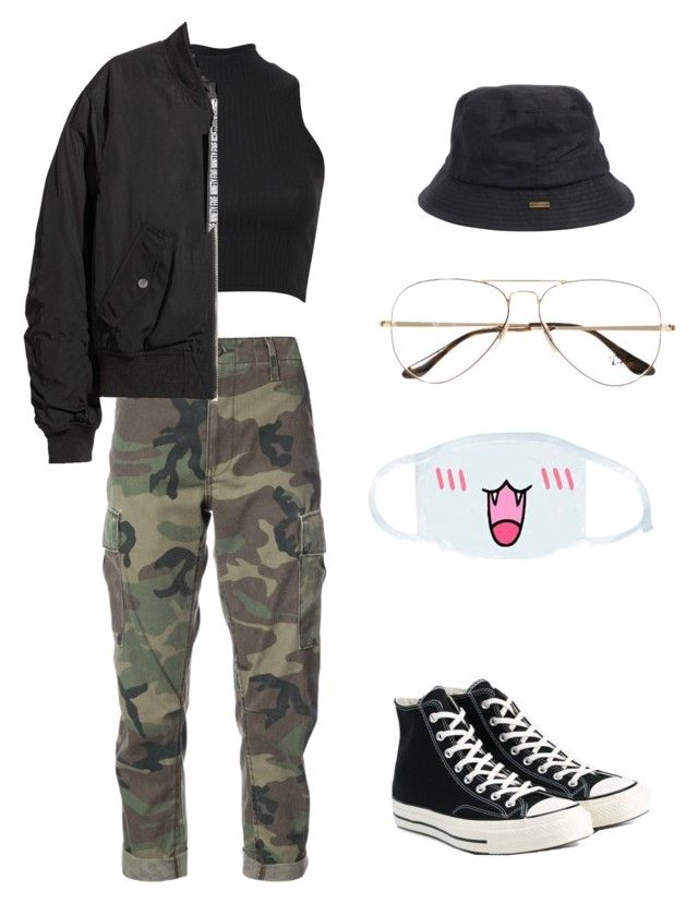 """Cute but cool"" by rand0mgirl1230 on Polyvore featuring Barbour, Ray-Ban, Converse, RE/DONE, Pilot, H&M and cutekawaii"