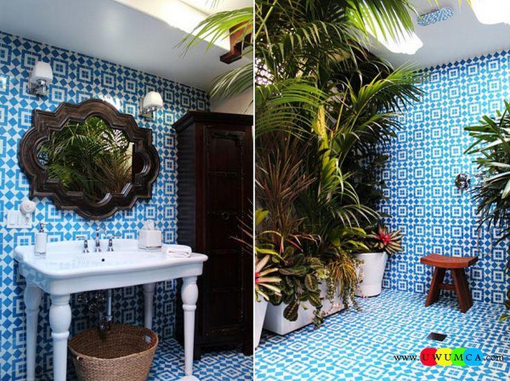 Bathroom:Decorating Modern Summer Bathroom Decor Style Tropical Bath Tubs Ideas Contemporary Bathrooms Interior Minimalist Design Decoration Plans Refreshing Bathroom With Cement Tile Cool and Cozy Summer Bathroom Style : Modern Seasonal Decor Ideas