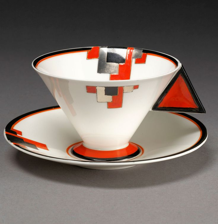 Art Deco Vogue Red Blocks cup and saucer. 1930-1931. Design by Eric Slater. Bone china, printed in black and painted in enamel colours and lustre. Victoria and Albert Museum Collection, London