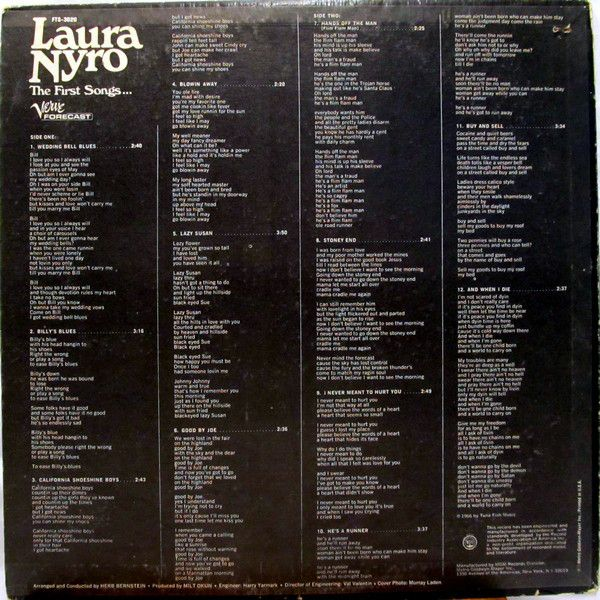 Laura Nyro - The First Songs... (Vinyl, LP, Album) at Discogs