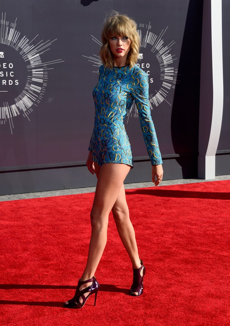 Taylor Swift attends the 2014 MTV Video Music Awards in Inglewood, CA. on August 24, 2014. | Taylor Swift in leotard from the Mary Katrantzou Resort 2015 collection. Worn with: Lorraine Schwartz + Ofira jewels and Elie Saab wine-coloured peep-toe cutout booties.