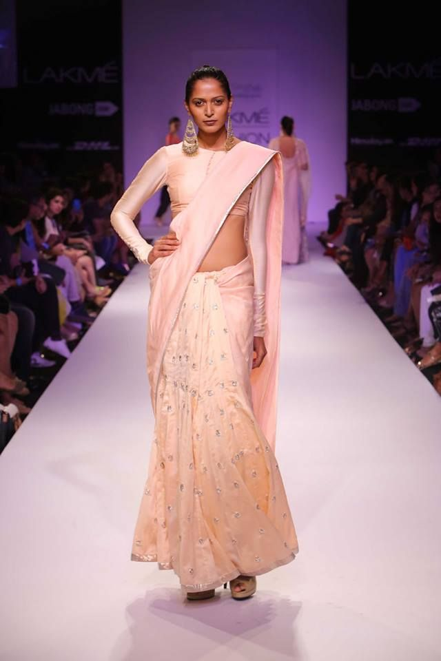Blush pink silk sari with long sleeved blouse by Payal Singhal