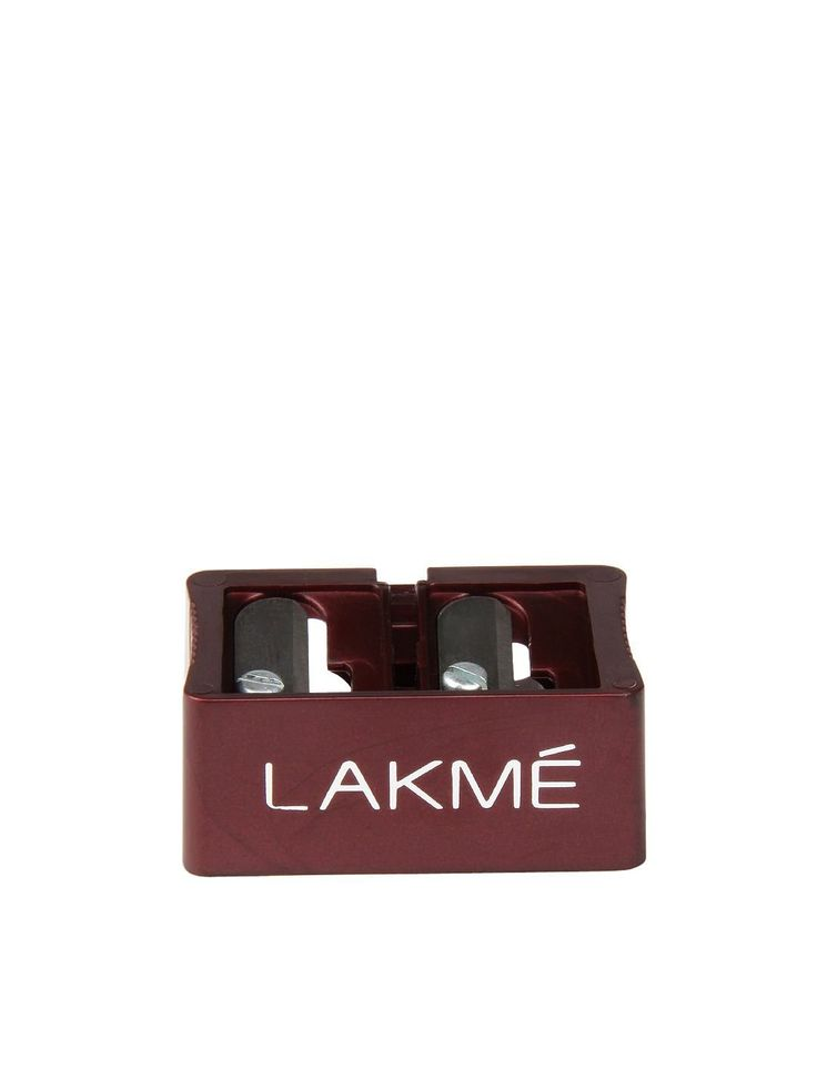 Lakme Dual Sharpener (for eye and lip pencils) is a 2-in-1 sharpener with both the sharpening ends attached side by side. It has a narrower part for regular pencils and a broader part for jumbo sized pencils.