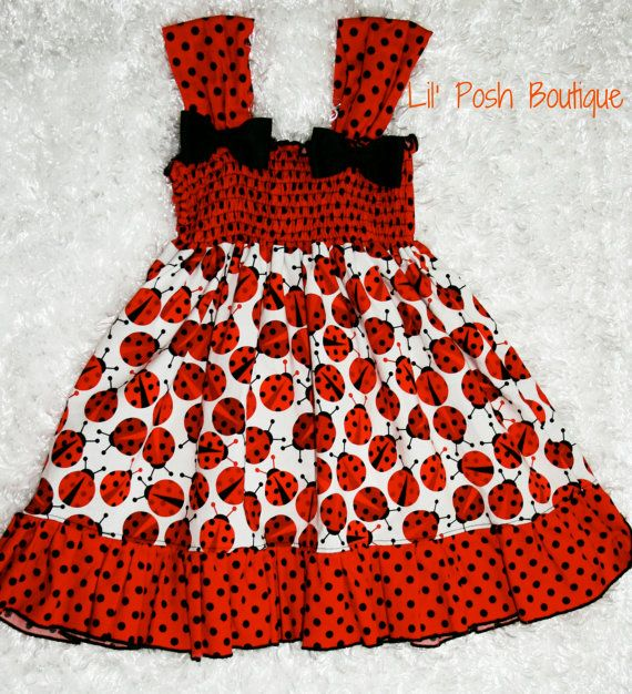 Custom Boutique Ladybug Summer Dress by lilposhboutique on Etsy, $35.50