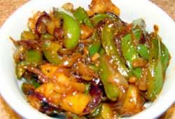 Aloo Shimla Mirch (Potatoes and green bell peppers)