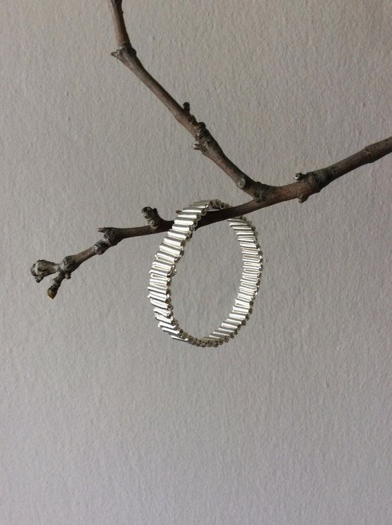 Tube silver bracelet 925 sterling silver plated by EliaLaNoire