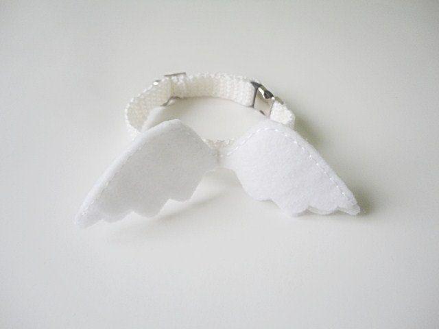 Cat collar-adjustable collar-custom collar-crochet cat collar-cat accessories-angel.Adjustable cat collar white with Bell. $15.00, via Etsy.