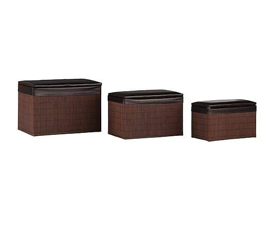 Set de 3 baúles de mimbre y polipiel - marrón oscuro