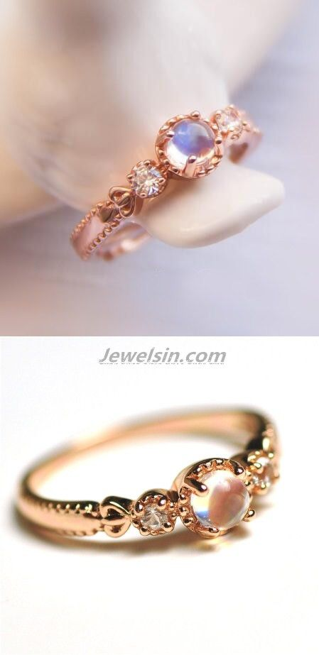 Fancy dainty rose gold blue moonstone engagement / promise ring