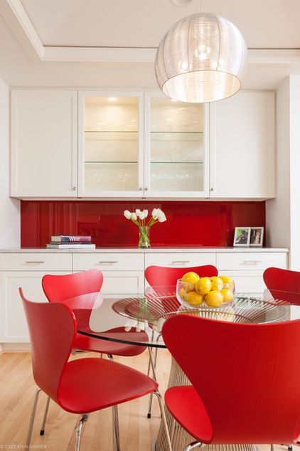 Red Lacquered Glass Backsplash White Cabinets For A Daring Mod Dining Room