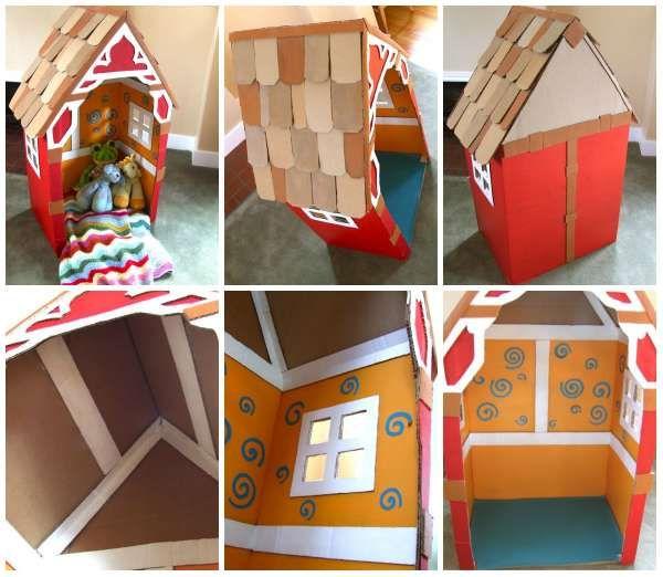Une maison de poupée faite en carton