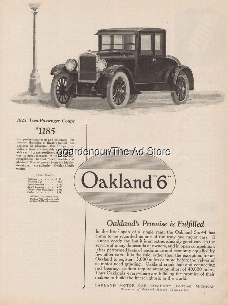 1923 Oakland Motor Car Pontiac MI Six 44 Coupe General Motors Magazine Print Ad