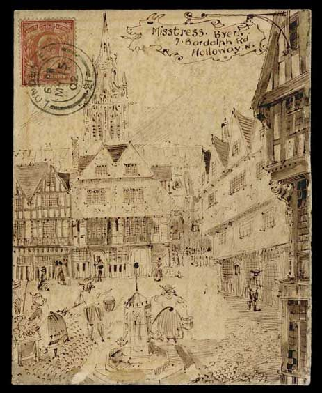1902 (May 15th) pen and ink illustrated envelope depicting a medieval town square, sent within London to Holloway with King Edward VII 1d stamp.