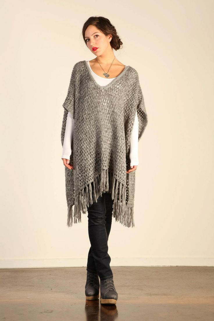 Sadie Grey Knit Poncho.  For item not pattern. Make a crochet one?