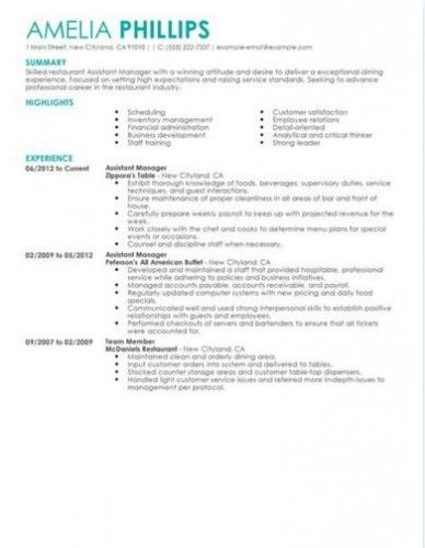 52 best restaurant resume images on Pinterest - restaurant supervisor resume