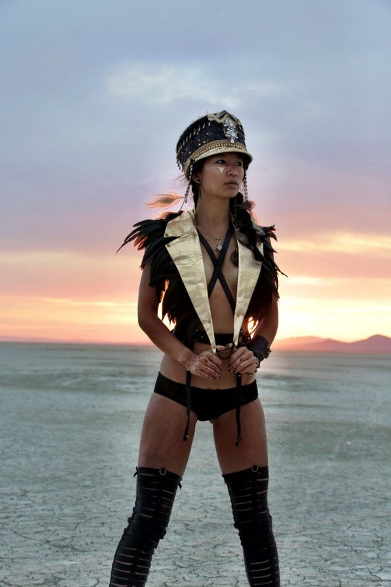 Epaulettes Feather Harness, Gold leather harness top, mad max festival jacket burning man costume by Love Khaos