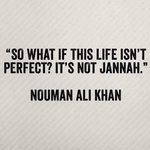 """So what if this life isn't perfect? It's not Jannah."" - Nouman Ali Khan"