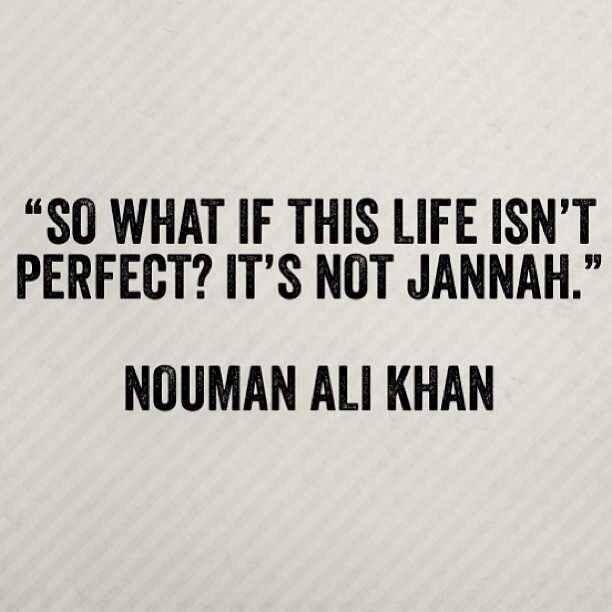 """So what if this life isn't perfect? It's not Jannah."" - Nouman Ali Khan"