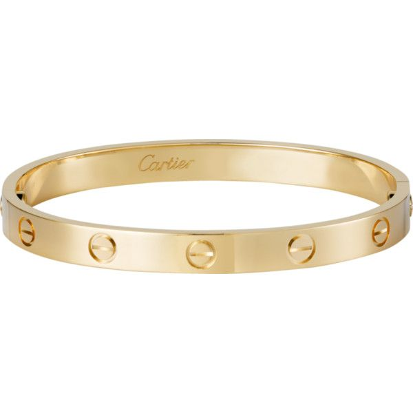 9e2846e243d Pre-owned Cartier Love Yellow Gold Bracelet Size 19 ($5,600) ❤ liked on  Polyvore featuring jewelry, bracelets, yellow gold jewelry, cartier jewelry,  ...