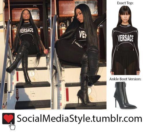 Buy Nicki Minaj's Black Versace Top and Alexander Wang Boots, here!