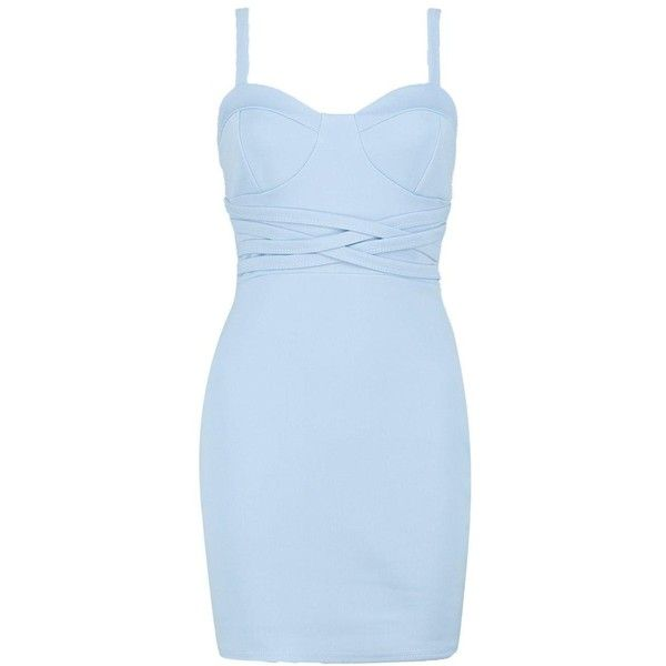Boohoo Molly Multie Strap Waist Bodycon Dress ($40) ❤ liked on Polyvore featuring dresses, blue party dress, midi cocktail dress, blue jersey, maxi dress and bodycon party dresses